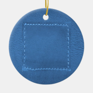 Vintage Leather Look Patchwork - Add Image / Text Christmas Tree Ornament