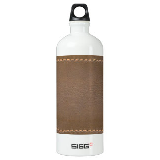 Vintage LEATHER Look Print Finish : Template Aluminum Water Bottle