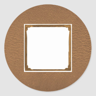 Vintage Leather Look - Write on ImageBox TextBox Classic Round Sticker