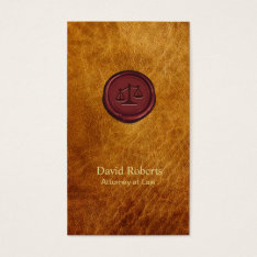 Vintage Leather Red Wax Attorney At Law Business Card at Zazzle