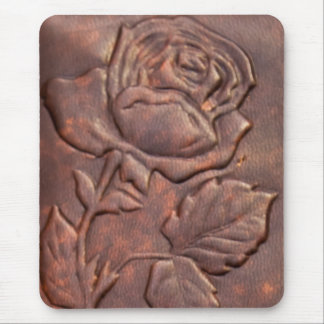 Vintage leather rose look mouse pad