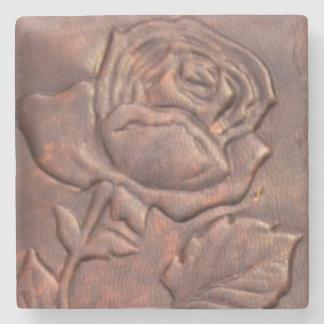 Vintage leather rose look stone coaster
