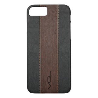 Vintage Leather Stripes In Black & Brown iPhone 7 Case