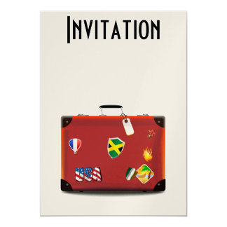 Vintage Leather Suitcase 5x7 Paper Invitation Card