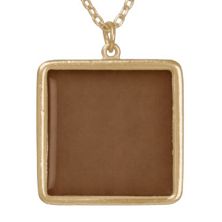 Vintage Leather Tanned Brown Parchment Paper Gold Plated Necklace