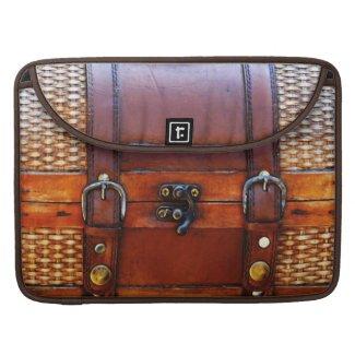 Vintage Leather & Wicker Satchel rickshawflapsleeve
