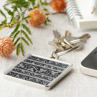 Vintage leaves and cones Silver-Colored square keychain