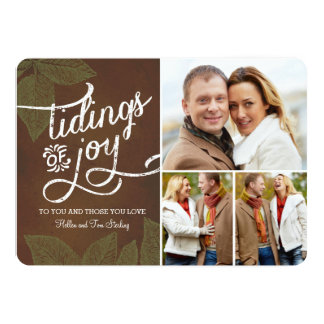 Vintage Leaves Holiday Photo Card