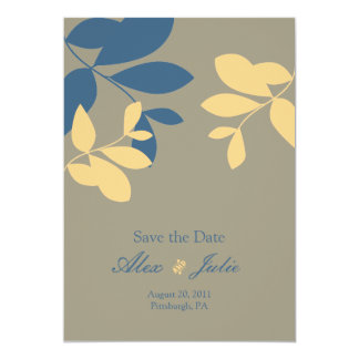 vintage leaves, save the date personalized invites