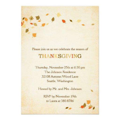 Vintage Leaves Thanksgiving Party Invitation Custom Invites