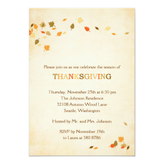 Vintage Leaves Thanksgiving Party Invitation