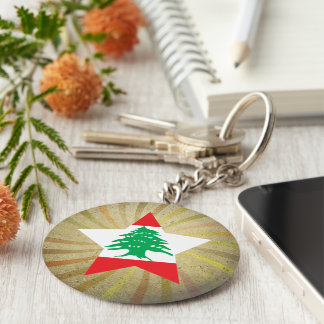 Vintage Lebanese Flag Swirl Basic Round Button Keychain