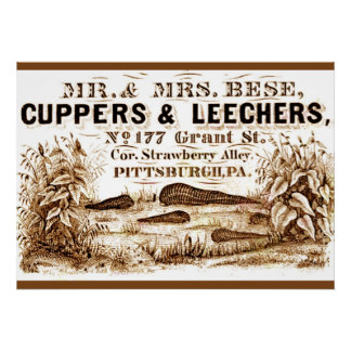 Vintage LEECHES Ad on Poster Cuppers & Leechers