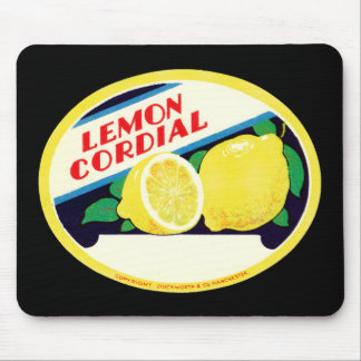 Vintage Lemon Cordial Label Mouse Pad