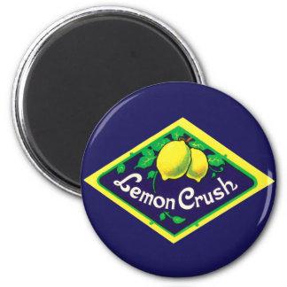 Vintage Lemon Crush Label 2 Inch Round Magnet