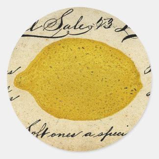 Vintage Lemon Handwritten Postcard Advertisement Classic Round Sticker