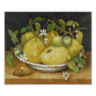 Vintage Lemon Still Life Poster