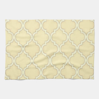 Vintage Lemon Yellow Moroccan Trellis Design Hand Towel