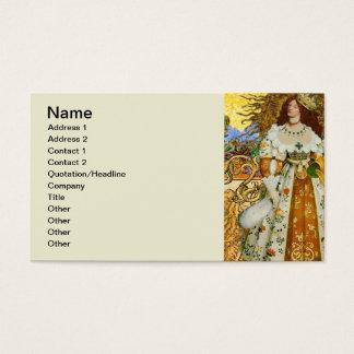 Vintage Leo Astrology Fantastical Magic Princess Business Card