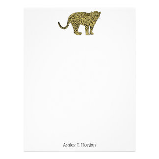 Vintage Leopard Cheetah Spotted Cat Drawing Letterhead