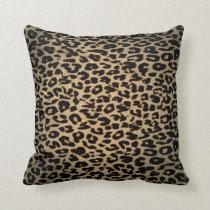 Vintage Leopard Print Skin Fur Throw Pillow