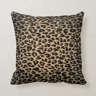 Vintage Leopard Print Skin Fur Throw Pillows