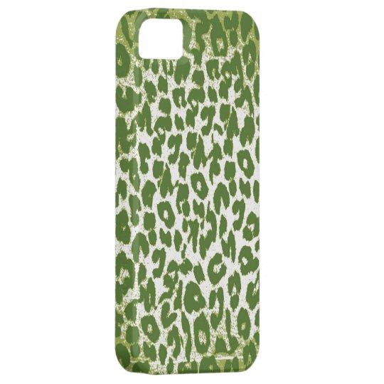 Vintage Leopard Print Skin Fur with Green iPhone SE/5/5s Case