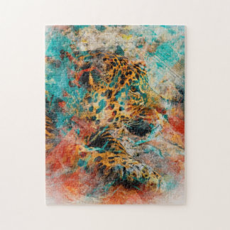 Vintage Leopard s dreams of CostaRica Jigsaw Puzzle