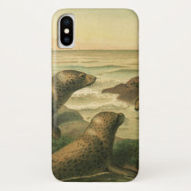 Vintage Leopard Seals, Aquatic Animals Marine Life iPhone X Case