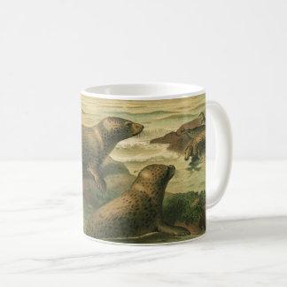 Vintage Leopard Seals, Marine Life Aquatic Animals Coffee Mug