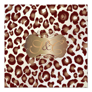 "Vintage Leopard spots + swirls 5.25"" Square Invitation Card"