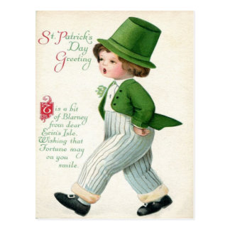 Vintage Leprechaun Boy St Patrick's Day Card