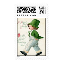 Vintage Leprechaun Boy St Patrick's Day Card Postage