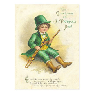 Vintage Leprechaun Girl St Patrick's Greeting Card