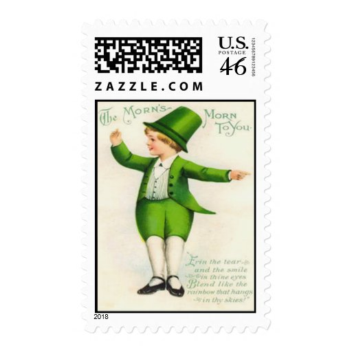 Vintage Leprechaun St Patrick's Day Card Stamps