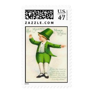 Vintage Leprechaun St Patrick's Day Card Stamp