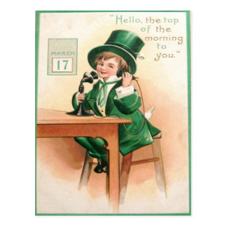 Vintage Leprechaun Telephone St Patrick's Day Card