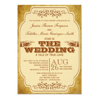 Vintage Lesbian Wedding Theatre Production Invitations
