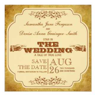 Vintage Lesbian Wedding Theatre Save The Date Card