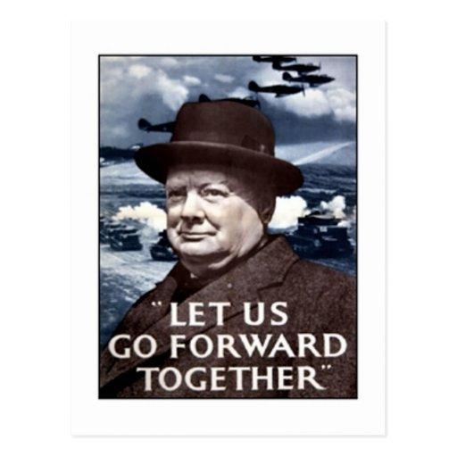 Vintage Let Us Go Forward Together Poster Postcard
