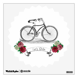 """Vintage """"Let's Ride"""" Bike Wall Graphics"""