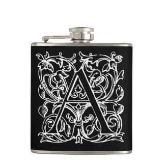 Vintage Letter A Monogram Black White Monogrammed Flask