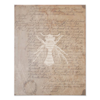 Vintage Letter and Bee Art Poster