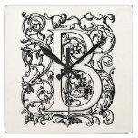 "Vintage Letter B Monogram Parchment ""B"" Initials Wall Clock"
