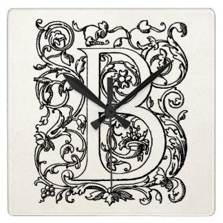 """Vintage Letter B Monogram Parchment """"B"""" Initials Square Wallclocks"""