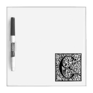 Vintage Letter C Monogram Black White C Initials Dry Erase Whiteboard