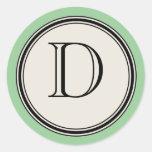 Vintage Letter Circle Frame Seal Template, Jadeite Classic Round Sticker
