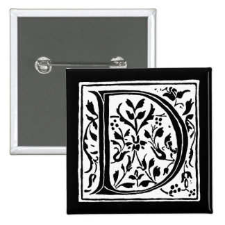 Vintage Letter D Monogram Black and White Monogram 2 Inch Square Button