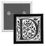Vintage Letter D Monogram Black and White Monogram 2 Inch Square Button