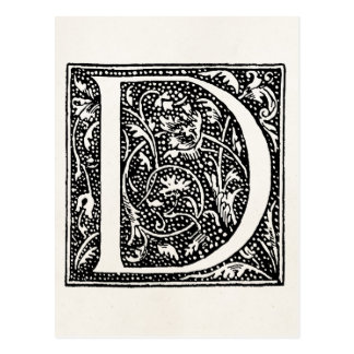 """Vintage Letter D Monogram Parchment """"D"""" Initials Post Cards"""